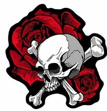 SKULL AND ROSES Biker HIGH Quality MC CLub Embroidered LARGE BACK Patch LRG-0462