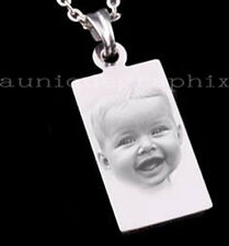 BIRTHDAY Rectangle Pendant Necklace Engraved with Photo and Text Unique Gift