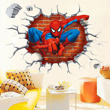 Removable 3D Spider Man Cracked Kid Room Decor Wall Sticker Decals Nursery Mural