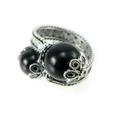 Anello fede sarda in argento brunito modello contrariè con pietra nera Su Coccu
