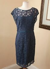 Adrianna Papell Teal Blue Mesh Lace Cocktail Dress Sz 10 Formal Evening Wedding