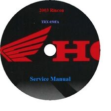2003 Honda Rincon TRX 650FA Service Manual. CD Format PDF file