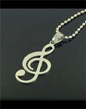 Women's Girl Fashion Stainless Steel Silver musical note Pendant w/ Necklace