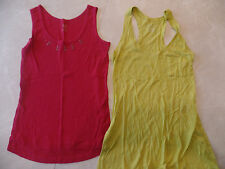 2 ladies SMALL/MEDIUM MATERNITY SHIRTS lot LIZ LANGE DUO tank tops RED YELLOW
