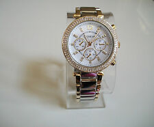 Chunky Gold/Silver Finish Chrono  Style Geneva Bracelet Fashion Boyfriend Watch