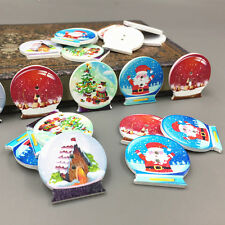 25pcs Wooden Buttons Crystal shape Christmas pattern Sewing Scrapbooking 30mm