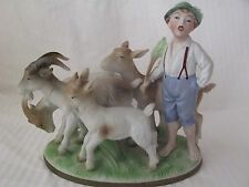 Excellent Vintage Germany Numbered Art Pottery Figurine ~Young Boy Herding Goats