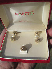 Dante Continental Gold-Tone Cufflinks & Tie Tack, New Old Stock, Red Velvet Box