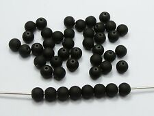 "1000 Matte Neon Black Color Acrylic Round Beads 8mm(0.32"") Rubber Tone"