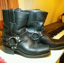 WOMENS FRYE USA 77455 BLACK LEATHER HARNESS MOTORCYCLE ANKLE BOOTS SZ 6.5 M