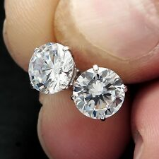 5CT Round Cut Created Diamond Earrings 14k White Gold Basket Solitaire Studs 9mm
