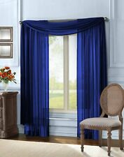 "Empire Home Solid Sheer Window Voile Scarf Valance 216"" Long Scarves Navy Blue"