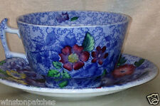 COPELAND SPODE WILD FLOWER FOOTED CUP & SAUCER 8 OZ MULTICOLOR FLORAL ON BLUE