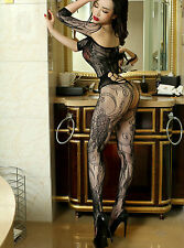 SEXY BLACK BODYSTOCKING OPEN CROTCH LACE EROTIC LINGERIE NIGHTWEAR UNDERWEAR