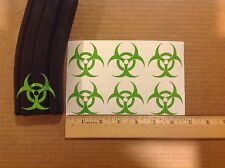 Zombie biohazard Sticker 6 pack, M4, AR, AK Magazine Sticker! ZOMBIE GREEN!