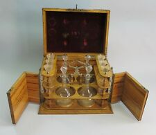 Antique French Cave a' Liquour Box w/ Engraved Decanters & Crystal  c. 1870s