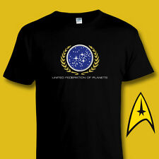 STAR TREK United Federation of Planets BLACK COTTON T-SHIRT All Sizes - 4XL