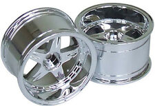 RC Car 1/10  RIMS  WHEELS Package KAWADA 5 Star  WIDE  32mm CHROME   *SET OF 2*