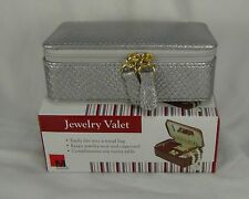 NEW jewelry mini box travel faux leather earring ring organizer silver valet nec