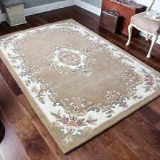 Indian Aubusson Beige Wool Pile Traditional Rugs 80x150cm Chinese Design