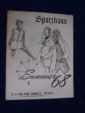 SPORTHAUS LIMITED CATALOG SUMMER 1968 CLOTHING TORONTO ONTARIO TENNIS BOATING