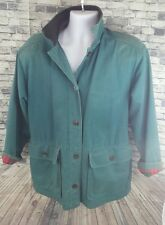 Vintage Womens Woolrich Cotton Leather Collar Blue Barn Coat Field Jacket Sm USA