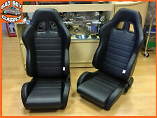 Pair JDM Style BB4 Reclining Tilting Bucket Sports Seats + Universal Runners