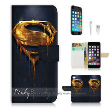 "iPhone 6 Plus (5.5"") Print Flip Wallet Case Cover! Superman Sign Hero P0249"