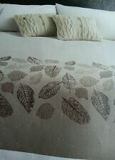 NEXT Natural Embroidered Leaf double duvet cover only from next