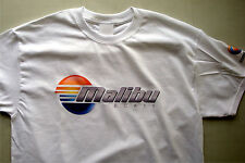 T-shirt Malibu Boats white 100% cotton with print on sleeve size medium