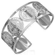 Silver Tone Stainless Steel Cross St. Benedict Religious Christian Open Bangle