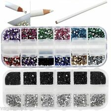 Nail Art Set DIY Kit Picker Pencil Black & Silver Crystals Rhinestones Gemstone