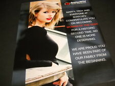 TAYLOR SWIFT says thanks to SONY/ATV Publishing 2014 PROMO POSTER AD mint cond
