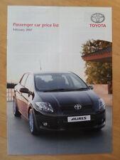 Toyota Gama Orig 2007 Reino Unido MKT precios Folleto-Auris Yaris Prius Aygo RAV4
