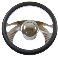 """14"""" Chrome Billet Aluminum (9 Hole) Steering Wheel & adapter& smooth horn Button"""