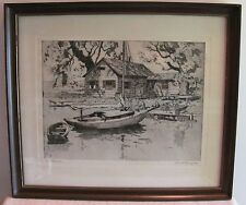 Framed Etching Talio-Crome Signed Lionel Barrymore Point Pleasant