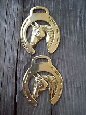 Brass Horse Bridle Harness Medallion Horseshoe Horse Head Lot of 2