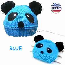 Baby Girl Boy Pom Pom Knitted Beanie Panda Hat Cap 4 mon-5 yrs Blue US Stock