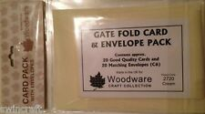 Woodware GATE FOLD CARD & ENVELOPE PACK of 20  C6 Cream 2720