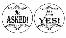 24 Engagement *He Asked She Said Yes* Edible Icing Cupcake Toppers