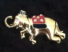 Vintage Monet Circus Elephant Pin / Brooch Red Blanket Hat Gold Tone