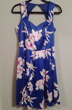 CROSSROADS BLUE TROPICAL FLORAL PRINT COUTURE SUMMER DRESS PINUP 50'S SIZE 12