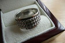925 STERLING SILVER WIDE SPINNER 3 BAND OR THUMB WOMENS OR MENS RING SZ W 11.5