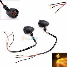 2x Black Mini 12V Motorcycle Turn Signals Bullet Blinker Indicator Lights Amber