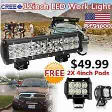 12inch CREE LED Work Light Bar + 2X 4inch Pods Lighting Offroad 4X4WD Truck Jeep