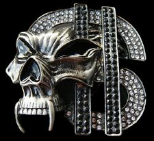 Boucle de Ceintures Evil Skull Rhinestone Dollar Signs Money Cash Belt Buckle