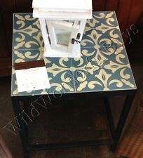 Pottery Barn Bistro Tile Side Table Patio Blue Moroccan Damask Fleur De Lys NIB