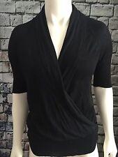 White House Black Market Sweater Women's Ladies V Neck Wrap 3/4 Silk SZ M Black
