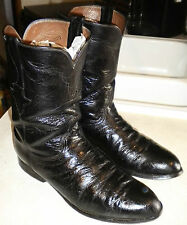 MENS 10 B LUCCHESE Ward L8008 R Black Smooth Ostrich ROPER WESTERN BOOTS $795