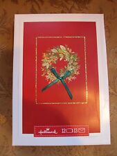 "Hallmark Boxed Lot Of 12 Christmas Cards  ""Wreath"" NIB Holiday #zdft"